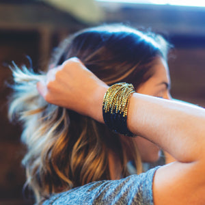 Gold And Black Beaded Bracelet