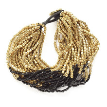 Load image into Gallery viewer, Gold And Black Beaded Bracelet