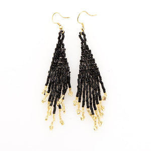 Black And Gold Small Fringe Earring