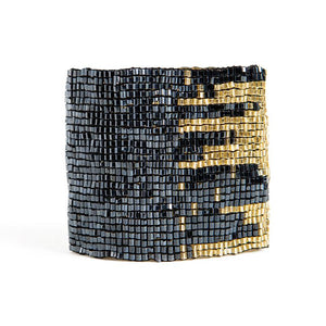 Blue And Gold Stretch Bracelet cuff