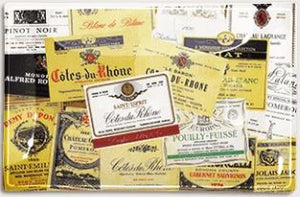 "Antique Wine Labels Decoupage Glass Tray 9"" X 14"""