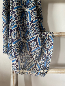 CHANDRA Batik Scarf  Blue