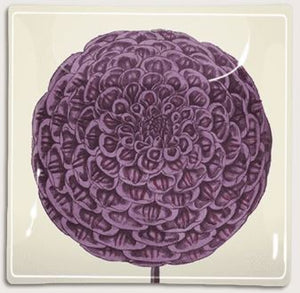 "Purple Dahlia Decoupage Glass Tray 8"" x 8"""