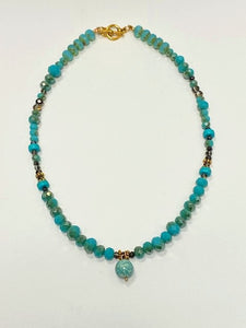 Turquoise Bead Necklace - Blue Charm