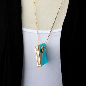 Agate Rectangle Necklace 30""