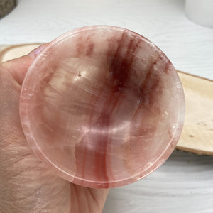 Salmon Pink Calcite Bowl, Ring Holder