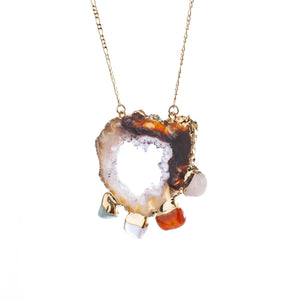 Agate Slice, Freeform Chakra Crystal Necklace
