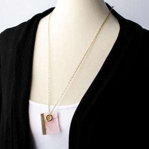 Rose Quartz Rectangle Pendant Necklace