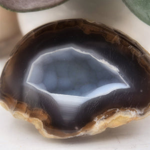Agate Sliced Rocks, Matching Pair with Crystal Druzy Cavity - Interiors in Balance