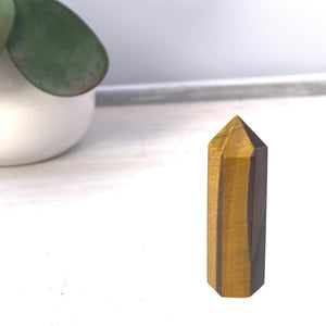 "Tiger's Eye Chakra Crystal Tower Point - 2 1/4"" - Interiors in Balance"