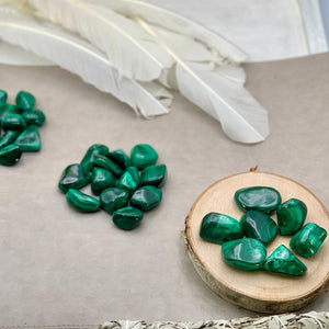 Malachite African Polished Tumbled Stone (1 Per Order) - Interiors in Balance