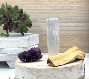 Bundle: Amethyst or Citrine Cluster with a Selenite Crystal Wand, and Palo Santo Stick - Interiors in Balance
