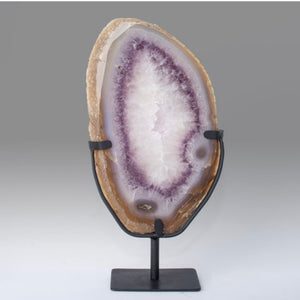 Agate Slab with Amethyst Ring, Large Agate Slice on Metal Stand