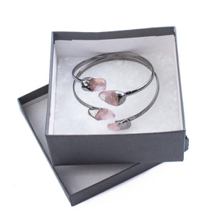 Rose Quartz, Layered Bangle Bracelet