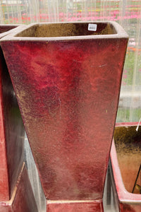 "Planter Redcliff Square 13"" Oxblood Red"