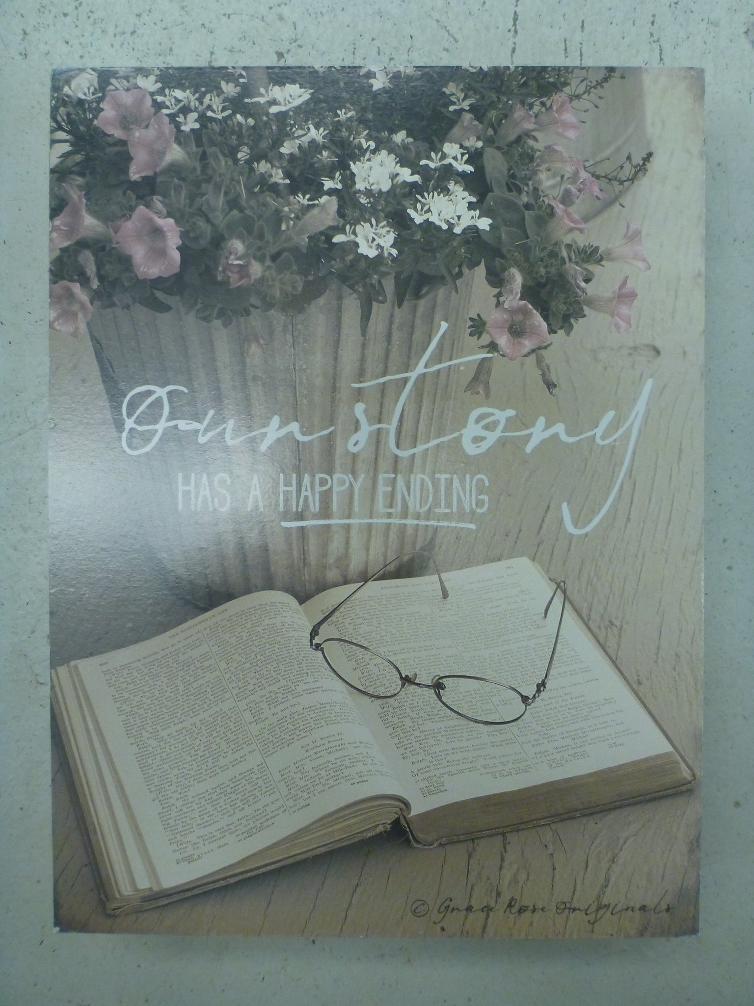 Box Sign 6'' x 8'' - Our Story Has A Happy Ending