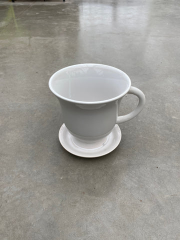 "Planter Teacup w/Saucer 18cm/7"" White"