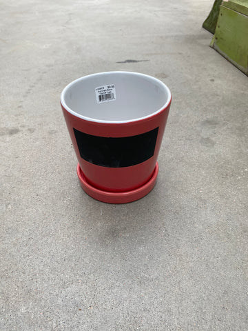 "Chalk Board Pot 15cm/6"" Red"