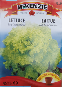 McKenzie Seeds Lettuce Early Curled Simpson