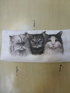 "Square Pouch 4.5"" x 9"" - Three Cats"