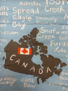 Tea Towel - Map Of Canada With Names Of Towns