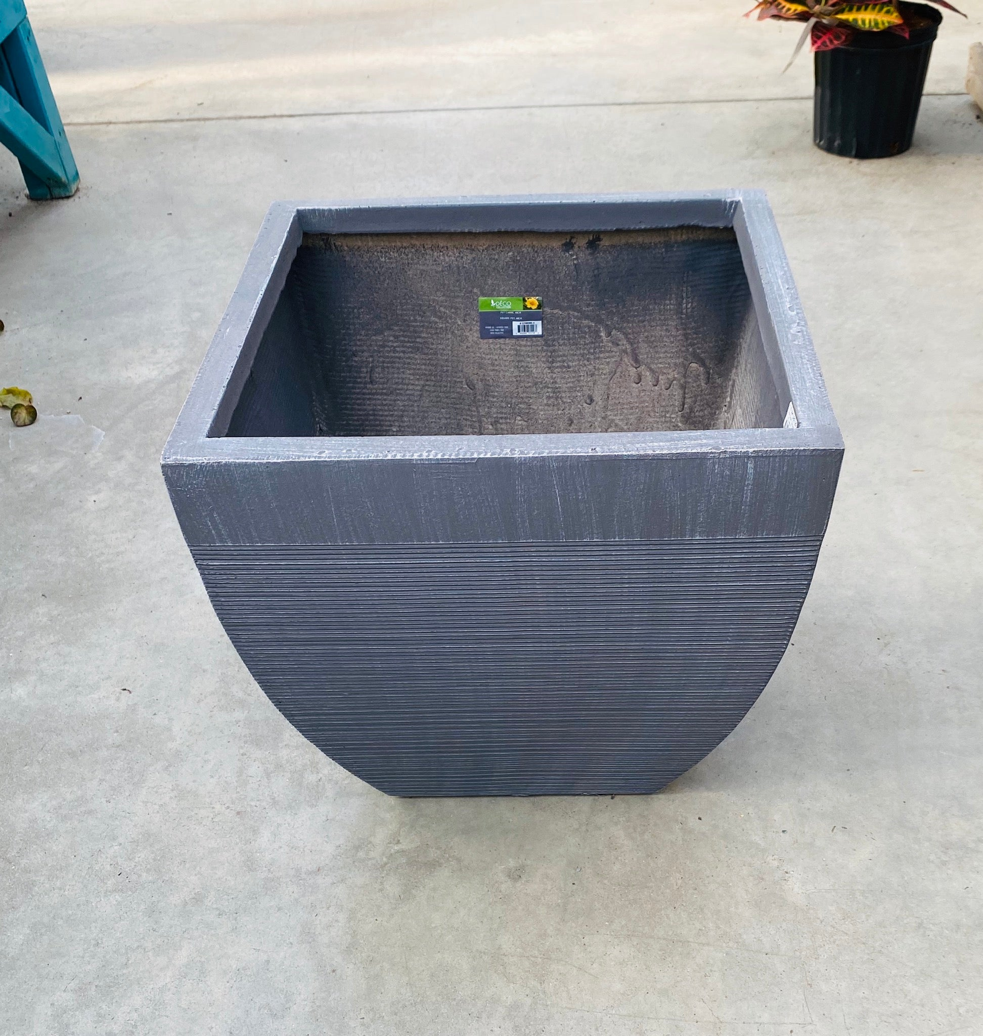 Square Grey Pot 44cm/17""