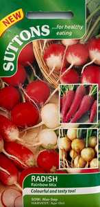 Suttons Seeds Radish - Rainbow Mix