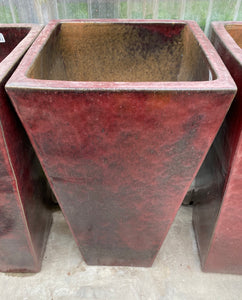 "Planter Redcliff Square 17"" Oxblood Red"