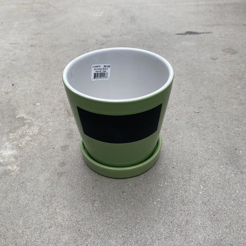 "Chalk Board Pot 15cm/6"" Green"