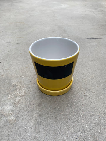 "Chalk Board Pot 15cm/6"" Yellow"