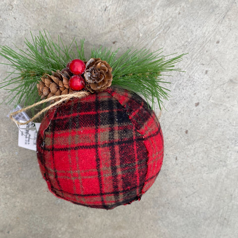 Christmas Ornament Red Plaid Ball
