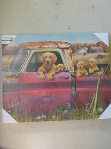 "Wall Art 18"" x 22.5"" - Dogs In Red Truck"