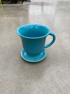 "Planter Teacup w/Saucer 18cm/7"" Blue"