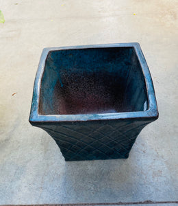 "Planter Catherine Square 15"" Tropical Blue"
