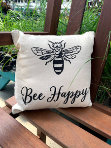 "Pillow Bee Happy 10"" x 10"""