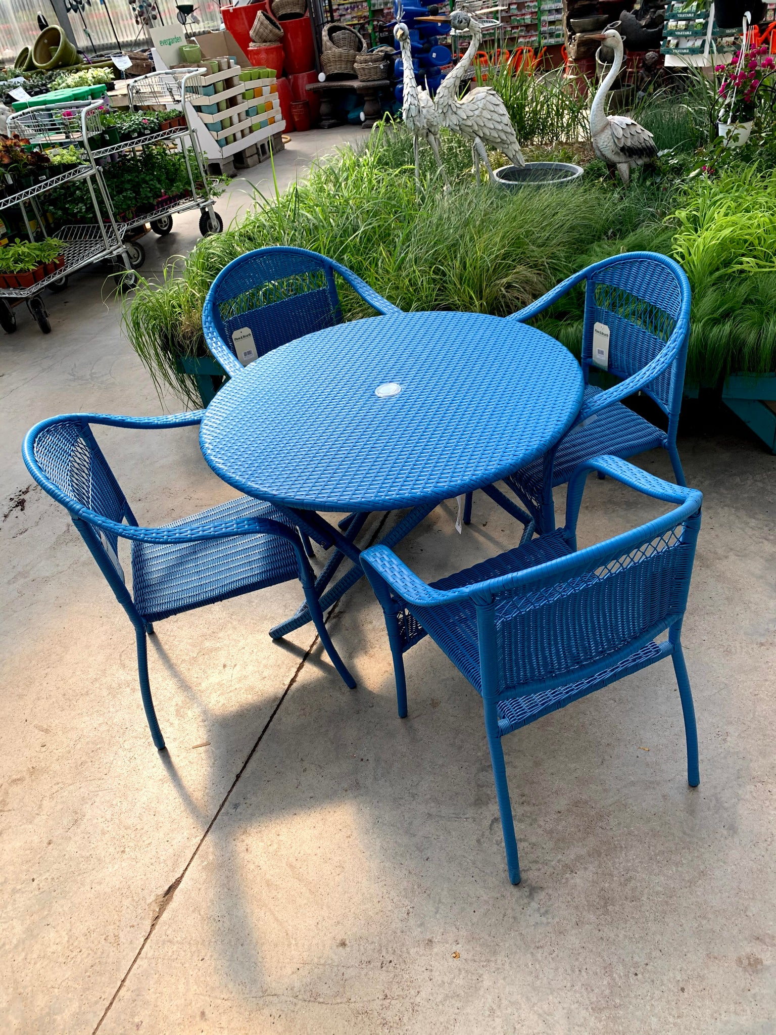 Tangier Wicker Table/Chairs Set 5pcs Blue