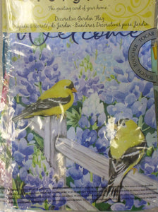 "Garden Flag 15"" - Two Yellow Birds & Purple Flowers ""Welcome"""