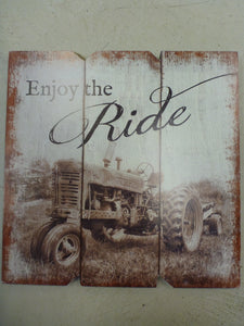 "Wooden Sign 11.5"" x 11.5"" - ""Enjoy The Ride"""