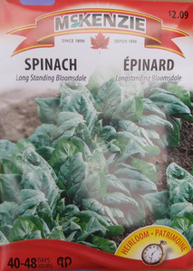 McKenzie Seeds Spinach Long Standing Bloomsdale