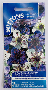 Suttons Seeds Love in a Mist - Nigella Ebony and Ivory