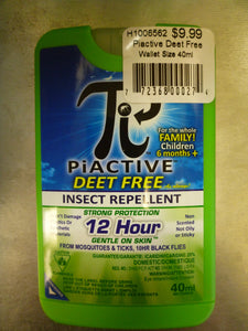 Piactive Deet Free Insect Repellent - Wallet Size 40ml