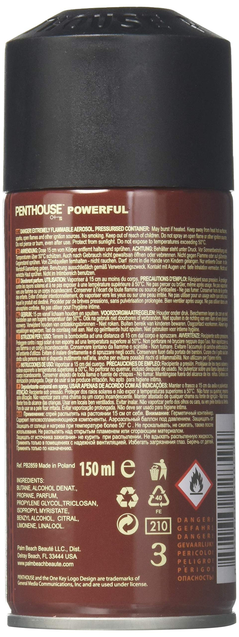 Penthouse Powerful By Penthouse Body Deodorant Spray 5 Oz