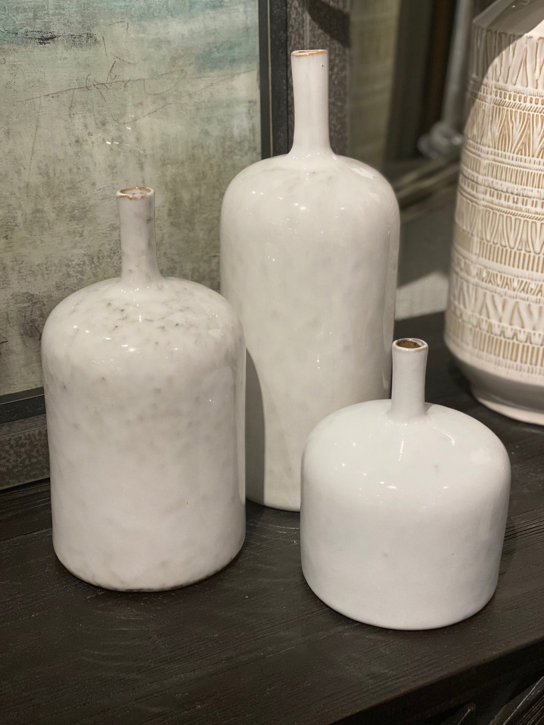 Assorted White Glaze Vases