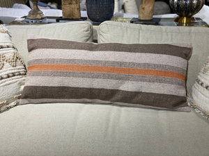 Brown and Orange Stripe Pillow
