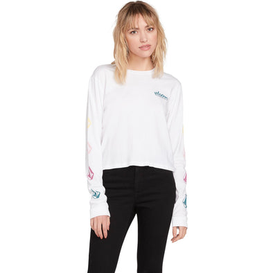 THE VOLCOM STONES LONG SLEEVE TEE - WHITE