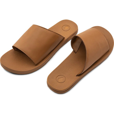 E-CLINER SLIDE SANDALS - COGNAC