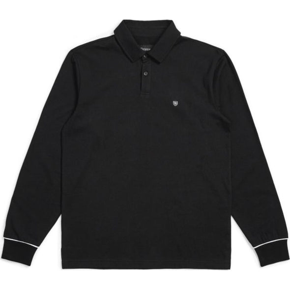 CARLOS L/S POLO KNIT - BLACK/WHITE