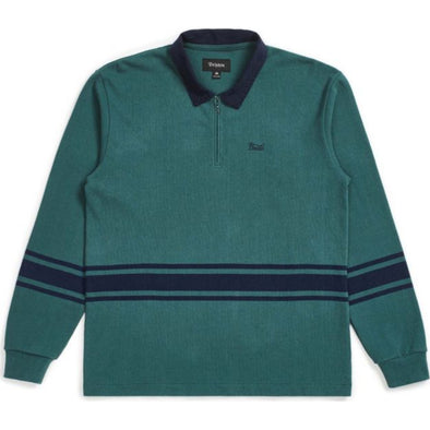 STITH 1/4 ZIP POLO - EMERALD/WASHED NAVY