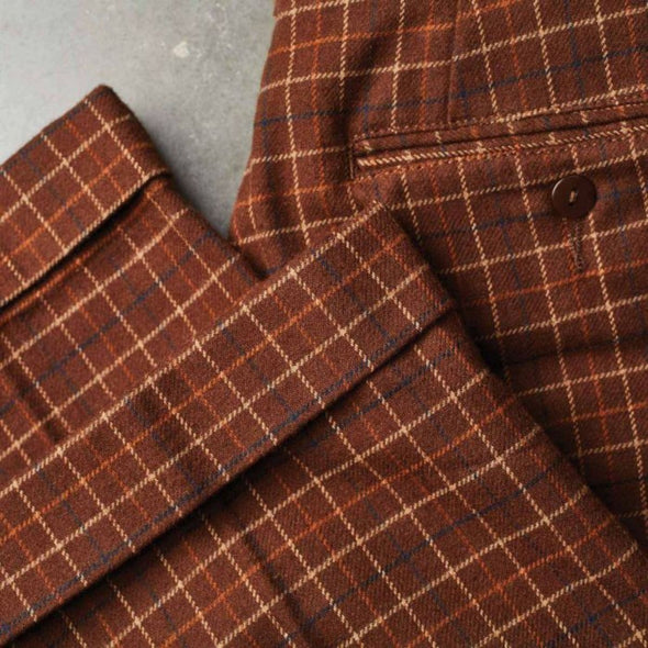 REGENT TROUSER PANT - BROWN PLAID