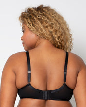 Load image into Gallery viewer, New Black + Leopard Curvy Couture Plunge Moulded Sheer Mesh T-Shirt Bra